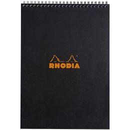 RHODIA Spiralnotizblock No. 18, DIN A4, kariert, schwarz