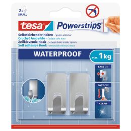 tesa Powerstrips Haken ZOOM WATERPROOF Small, Metall, silber