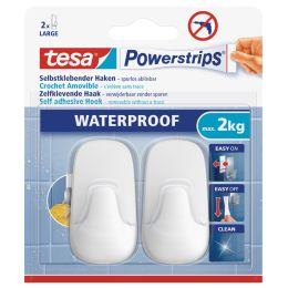 tesa Powerstrips Haken WATERPROOF Large Plastik, weiß