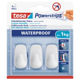 tesa Powerstrips Haken WATERPROOF Small Plastik, weiß