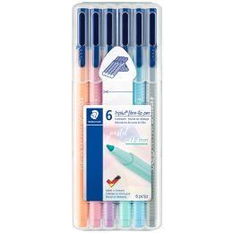 STAEDTLER Fasermaler triplus color pastel, 6er Etui