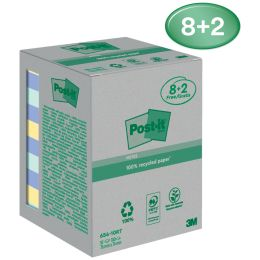 Post-it Haftnotizen Recycling Notes, 76 x 76 mm, farbig