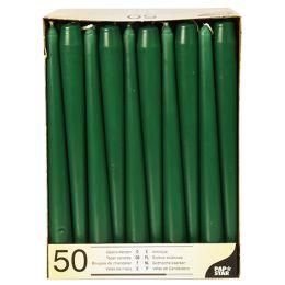 PAPSTAR Leuchterkerzen, 22 mm, dunkelgrün, 50er Pack