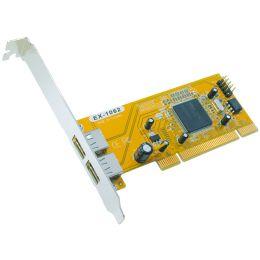EXSYS USB 2.0 PCI Karte, 32 Bit, 2 Port, bis 480 MBit/Sek.