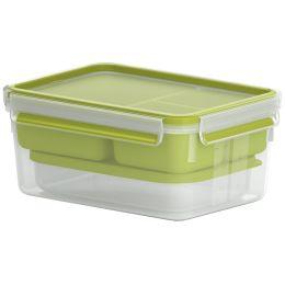 emsa XL Lunchbox CLIP & GO, 2,3 Liter, transparent / grün