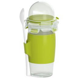 emsa Yoghurt Mug CLIP & GO, mit Löffel und Toppingbehälter