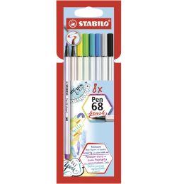 STABILO Pinselstift Pen 68 brush, 8er Karton-Etui