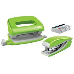 LEITZ Heftgerät- & Locher-Set Mini Nexxt WOW, grün