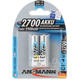 ANSMANN NiMH Akku Premium, Mignon AA, 2.700 mAh, 2er-Blister