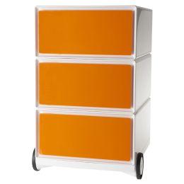 PAPERFLOW Rollcontainer easyBox, 3 Schübe, weiß / orange