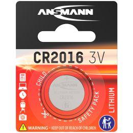 ANSMANN Lithium Knopfzelle CR2016, 3,0 Volt, 1er-Blister