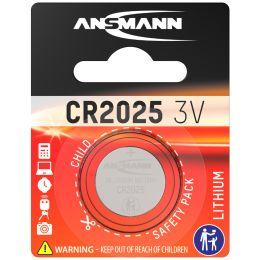 ANSMANN Lithium Knopfzelle CR2025, 3,0 Volt, 1er-Blister