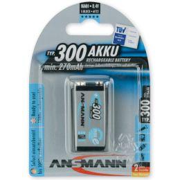 ANSMANN NiMH Akku maxE, 9V E-Block, 300 mAh, 1er Blister