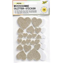 folia Moosgummi Glitter-Sticker Herzen II, 40 Stück