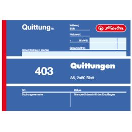 herlitz Formularbuch Quittung 401, DIN A6, 50 Blatt