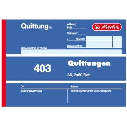 herlitz Formularbuch Quittung 403, DIN A6, 2 x 50 Blatt