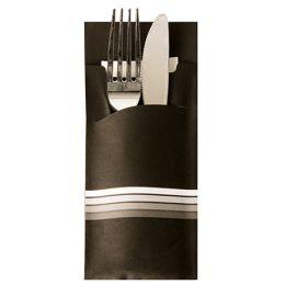 PAPSTAR Servietten-Tasche Stripes, schwarz / weiß
