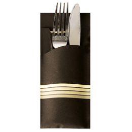 PAPSTAR Servietten-Tasche Stripes, schwarz / creme