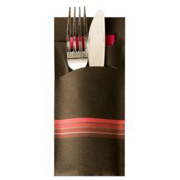 PAPSTAR Servietten-Tasche Stripes, schwarz / bordeaux