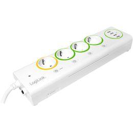 LogiLink LogiSmart WiFi Steckdosenleiste, 4-fach + 4 x USB