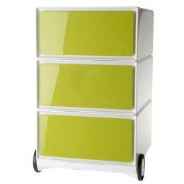 PAPERFLOW Rollcontainer easyBox, 3 Schübe, weiß / grün