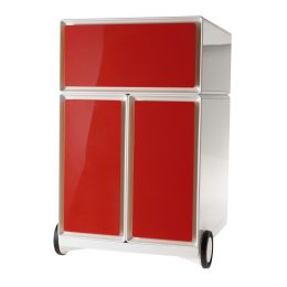 PAPERFLOW Rollcontainer easyBox, 1 Schub, weiß / rot