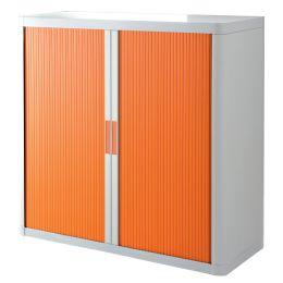 PAPERFLOW Rollladenschrank easyOffice, 2 Böden, weiß/ orange