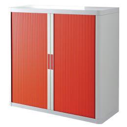 PAPERFLOW Rollladenschrank easyOffice, 2 Böden, weiß / rot