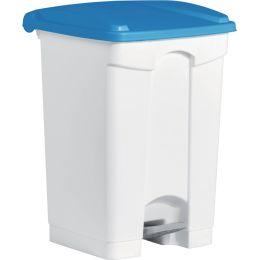 helit Tret-Abfalleimer the step, 45 Liter, weiß/blau