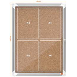 nobo Schaukasten, Kork-Rückwand, Innenbereich, 4 x DIN A4
