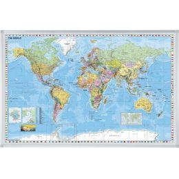 FRANKEN Weltkarte, pinnbar, (B)1.380 x (H)880 mm