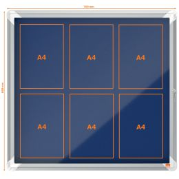 nobo Schaukasten Premium Plus, Filz-Rückwand, 6 x A4, blau
