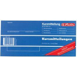 herlitz Formularbuch Kurzmitteilung, 1/3 A4 quer