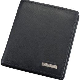 Alassio Mini-Geldbörse, Leder, im Hochformat, schwarz