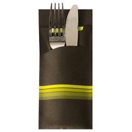 PAPSTAR Servietten-Tasche Stripes, schwarz / limone