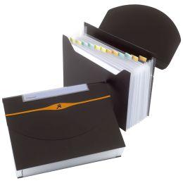 Rexel Fächermappe Optima, DIN A4, 13 Fächer, PP, schwarz