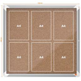 nobo Schaukasten, Kork-Rückwand, Innenbereich, 6 x DIN A4