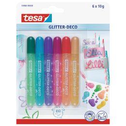 tesa Glitzerkleber Glitter Deko Tube, Inhalt: 6 x 10 g