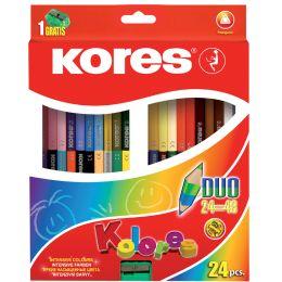Kores Dreikant-Buntstifte DUO, 24er Karton-Etui + Spitzer