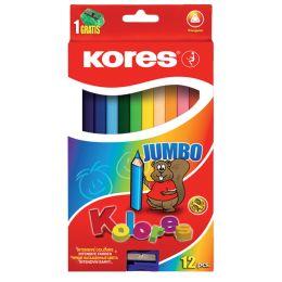 Kores Dreikant-Buntstifte JUMBO, 12er Karton-Etui