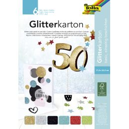folia Glitterkarton-Block Basic, 170 x 245 mm, 300 g/qm