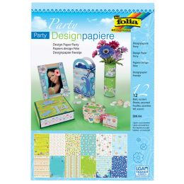 folia Designpapierblock Party, DIN A4, 165 g/qm, 12 Blatt