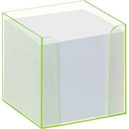folia Zettelbox Luxbox mit Leuchtkanten, grün, bestückt