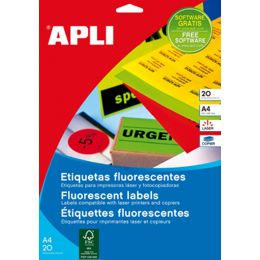 agipa Adress-Etiketten, 64 x 33,9 mm, neongelb