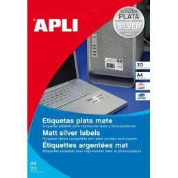 agipa Typenschild-Etiketten, 25,4 x 10 mm, silber
