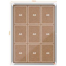 nobo Schaukasten Premium Plus, Kork-Rückwand, 9 x DIN A4