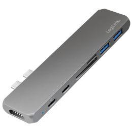 LogiLink USB-C 7-in-1 Multifunktions-Hub mit PD, grau