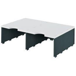 styro Aufbaueinheit styrodoc duo, 2 Fächer, schwarz/grau