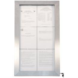 Securit LED-Schaukasten STAINLESS STEEL, 6 DIN A4 Seiten
