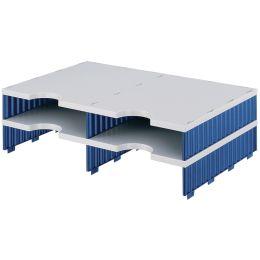 styro Aufbaueinheit styrodoc duo, 4 Fächer, blau/grau